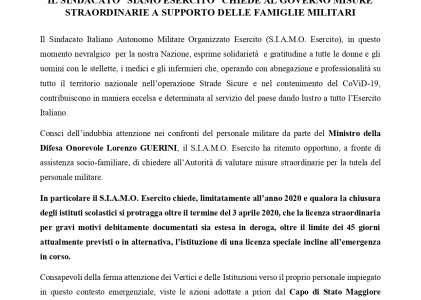 IL S.I.A.M.O. ESERCITO CHIEDE AL GOVERNO MISURE STRAORDINARIE A SUPPORTO DELLE FAMIGLIE MILITARI