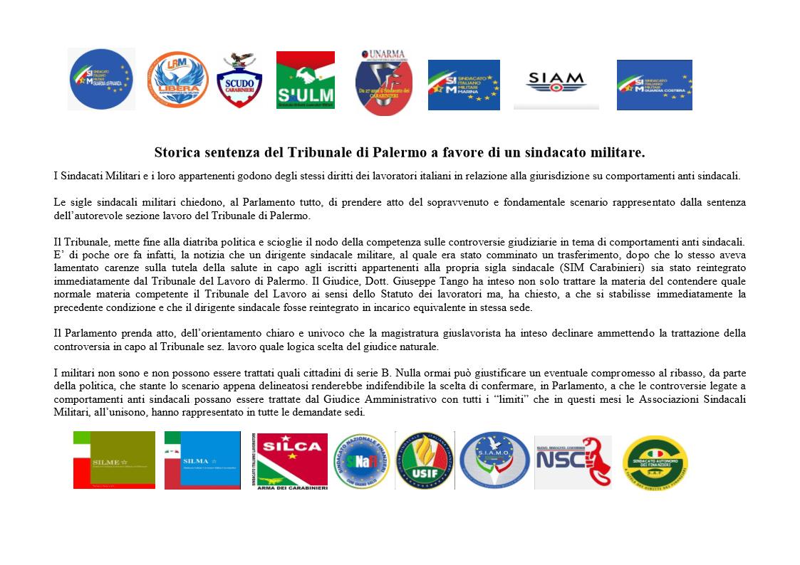 Storica sentenza del Tribunale di Palermo a favore di un sindacato militare.