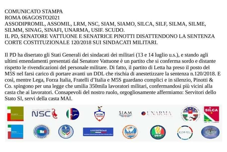 IL PD, SENATORE VATTUONE E SENATRICE PINOTTI DISATTENDONO LA SENTENZA CORTE COSTITUZIONALE 120/2018 SUI SINDACATI MILITARI